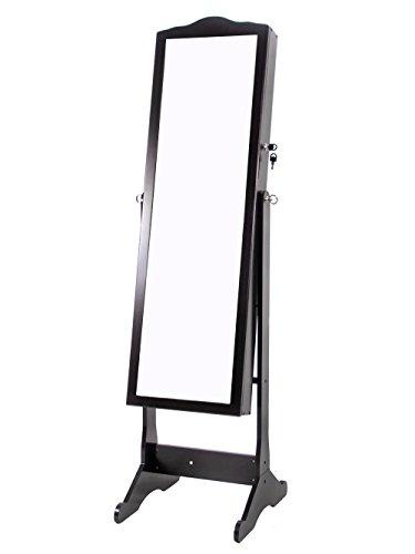 TMS Wood Glass Mirror Jewelry Storage Armoire Cabinet Stand Storage Necklace Bracelet Black