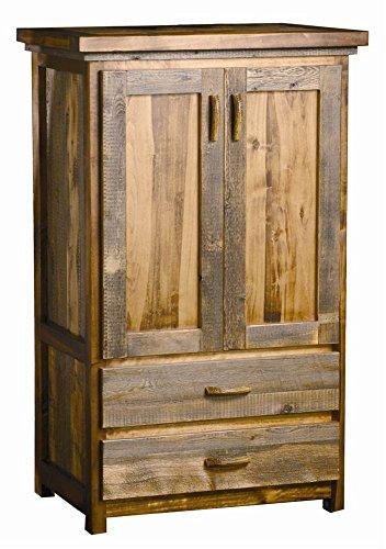 2 Drawer Rustic Wood Armoire w Wardrobe Bar Contoured Aspen