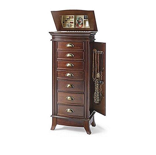 Hives Honey Hillary Dark Walnut 7-drawer Wood Mirrored Jewelry Armoire