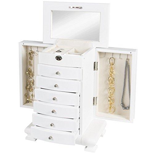 Wooden Jewelry Box Organizer Wood Armoire Cabinet Storage Chest