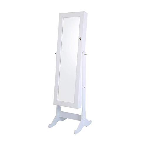 Aromzen Lockable Jewelry Cabinet Jewelry Armoire with Mirror Jewelry Holder Organizer Storage 4 Angle Adjustable