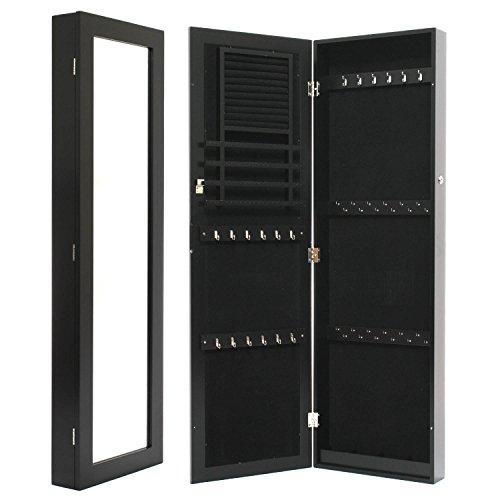 Black Mirrored Jewelry Cabinet Armoire Wall  Door Mount Organizer Storage Case