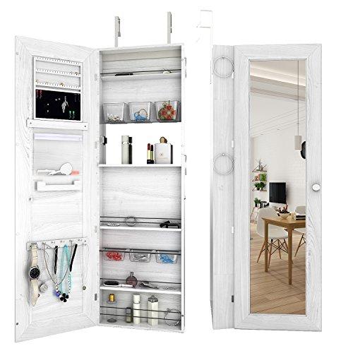 Jewelry OrganizerDoorWall Mount Storage Box Lockable Full Length Mirrored Jewelry Cabinet Organizer with LED Light