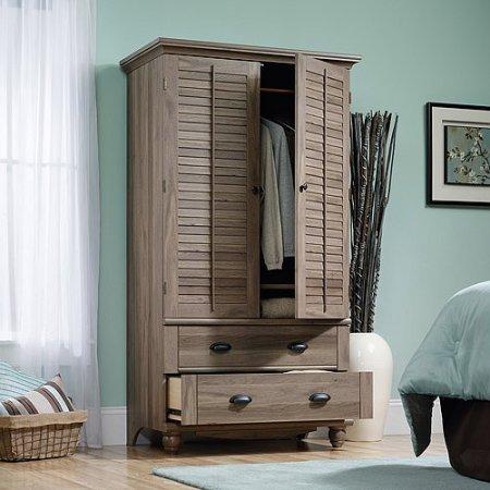 Salt Oak Wardrobe Armoire Closet Organizer Dresser Wide Vintage Antique Bedroom Furniture