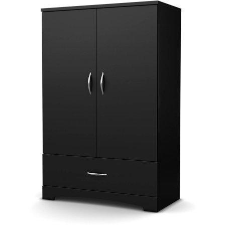 Wardrobe bedroom Armoire Closet Cabinet Dresser 2 adjustable shelf drawer durable safety latch 2 hooks metal handles brushed nickel 3 storage eco-friendly laminate 354Wx18Dx544H 5-year warranty