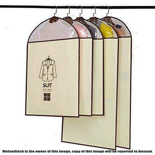 Welandtech 5 Pack of Dustproof Cover Bag for Coat Outer Clothes Jacket Suit Dress Bedroom Armoires Organizer Garment Storage Bags Set Large Medium Cream