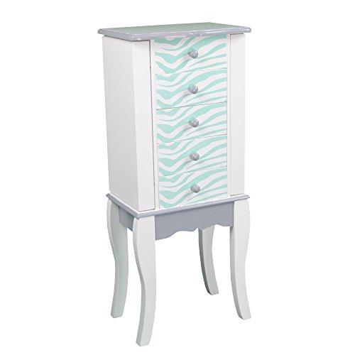 Teamson Kids - Fashion Prints Kids Jewelry Chest Armoire - Zebra Aqua Blue  White