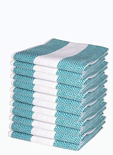 100 Cotton Classic Herringbone Kitchen Dish TowelsCabana Stripe Tea TowelsKitchen Towel Hook Towel Kitchen Set Dish Cloths Machine Washable 12 Pack D09-18x28Col-Teal White