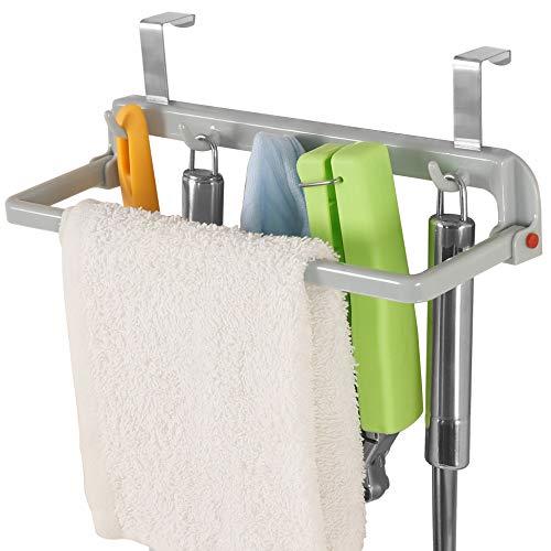 WEBI Over The Cabinet Hook with Kitchen Towel Bar 5 Cabinet Door Hook Kitchen Towel Hook Holder Door Hanger for CupboardCounterWardrobe