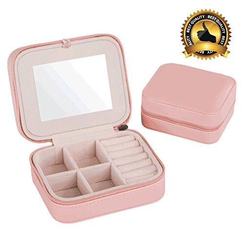 Best Quality Jewelry Box Fashion Womens Mini Jewelry Box Travel Makeup Organizer Faux Leather Casket With Zipper Cheap Classic Style Jewellery Case