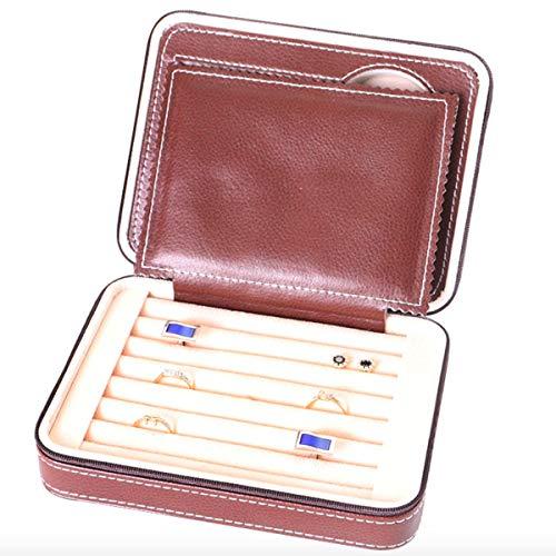 Aco&bebe House Small Travel Jewelry Box Rings Cuff-Links Tie Clip Organizer Zipped Closure Brown