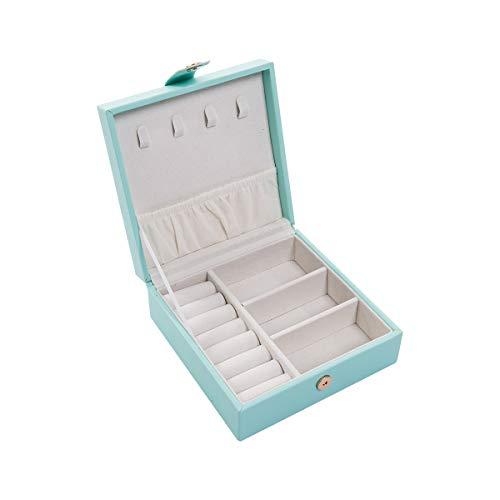 Single Layer PU Simple Creative Portable Jewelry Earrings Ring Jewelry Storage Box Small Travel Jewelry Box Organizer Blue 47472