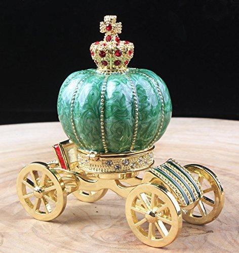 Vintage Jeweled Vanity Jewelry Carriage Box Nice Fairy Crown Trinket Box Carriage Jewelry Trinket Box