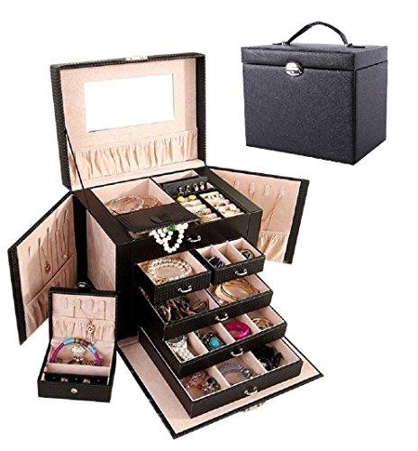 Wuligirl Large Jewelry Box Organizer Lockable Jewelry Storage Case with Mini Travel CaseMirror KeyDrawers 5-Layer PU Leather Black  D Black Jewelry Box