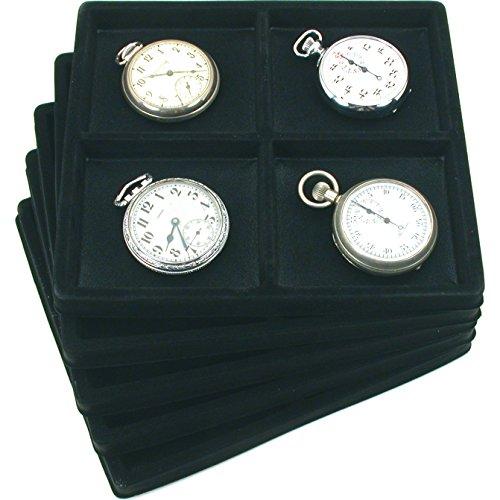 4 Slots Black Jewelry Display 12 Size Tray Inserts x5