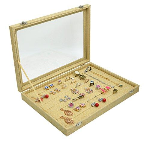 Jewelry Storage Trays Glass Top 8 Rows Inserts Ring Box Jewelry Box Earring Storage Organizer Yellow