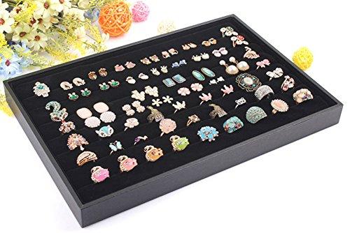 Wuligirl Velvet Ring Trays Jewelry Showcase Ring Insert Organizer Trays Stackable Black Ring Tray