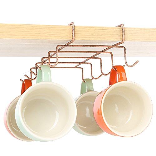 10 Hook Under-the-Shelf Espresso Cup Storage Drying Rack Metal Mug Holder Bronze