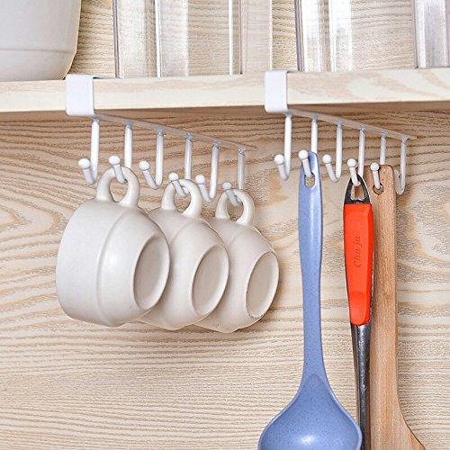 Moving and Free Perforated Under Cabinet Utensil Organizer Mug Hook Holder Kitchen Storage Hanger Drying Rack Holder Metal Closet Organizer White Hook Holder