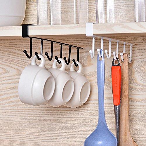 Mug Hook Holder Under Shelf Storage Rack Cup Rack 6 Hooks Stainless Steel MultifuctionalMoving AM