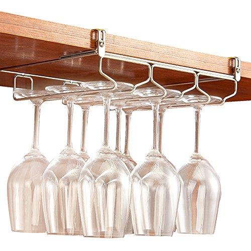 GeLive Under Cabinet Stemware Rack Holder Adjustable Stainless Steel Wine Glass Hanger Organizer Bar