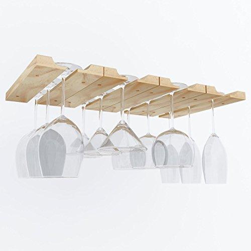 Hanging Under Cabinet Stemware Wine Glass Holder Rack  Adjustable Natural Wood  Pack of 2