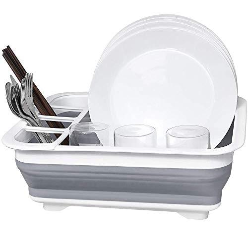 TangoLL Collapsible Drying Dish Storage Rack Portable Dinnerware Organizer - Space Saving Kitchen