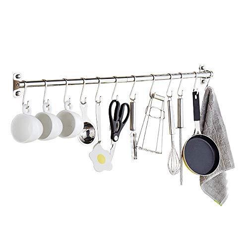 Multipurpose Wall Mounted Pan Pot Hanging Rack Stainless Steel Kitchen Utensils Hanger Organizer Lid Holder 100Cm 14 Hooks