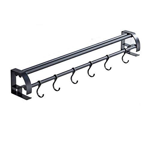 Pan Lid Holder No Punching Pan Lid Holder Bar Rack 60cm Aluminum Hanging Rail Kitchen Utensils Hanger Color  Black Size  60cm