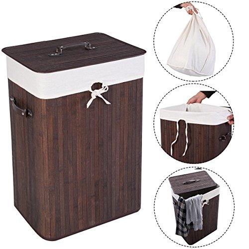 New MTN-G Rectangle Bamboo Hamper Laundry Basket Washing Cloth Bin Rangier Lid Brown