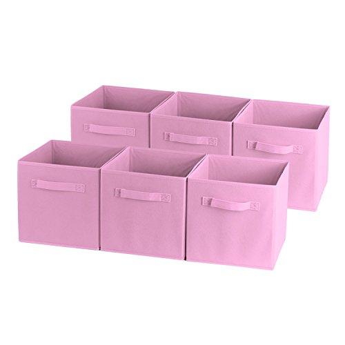 Shellkingdom Foldable Cloth Storage Cube Basket Bins Organizer Containers Drawers 6 Lavender