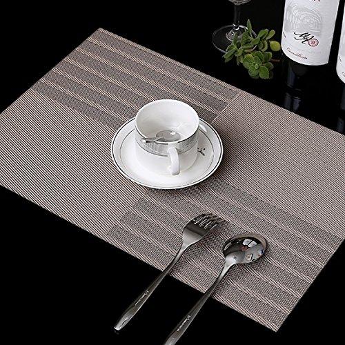 Set of 6 Placemats Bamboo Coasters Kitchen Utensils Pots Racks Insulation Mats Round Plates Mats Mats