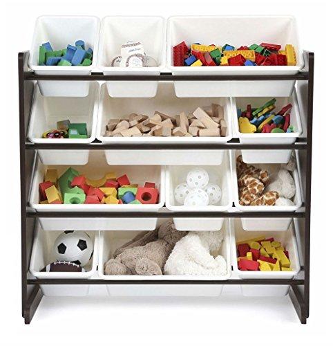 Kids Toy Storage Organizer with 12 Plastic Bins EspressoWhite