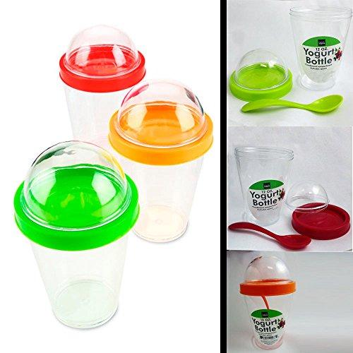 1 Yogurt Bottle Cup Storage Container Spoon Cereal Fruit Parfait Dome Lid 12 oz