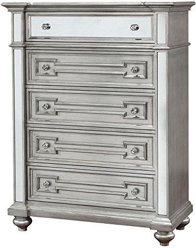 Furniture of America CM7673C Salamanca Silver Chest Drawer