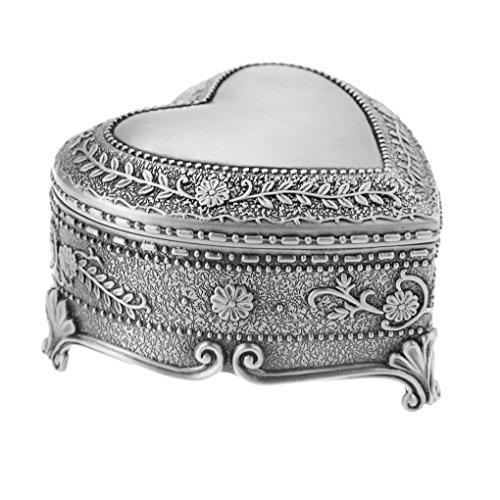 Retro Heart Shape Tin Jewelry Box Classic Art Antique Silver Chest Box Storage Organizer