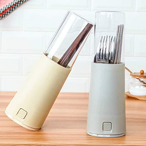 HSada Chopsticks Holder Durable Premium Plastic Cutlery Storage Box with Cover Dustproof Kitchen Tools Utensil CaddyEasy to Drain Beige