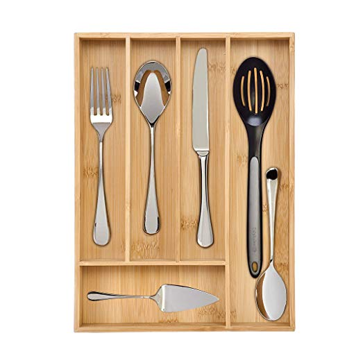 LLJEkieee Cutlery Storage Box Utensil Tray Wooden Drawer Dividers 5 Compartments Organizer Storage Holder Bamboo Flatware Organizer Good for Knives Forks Spoons 135 x 98 inches