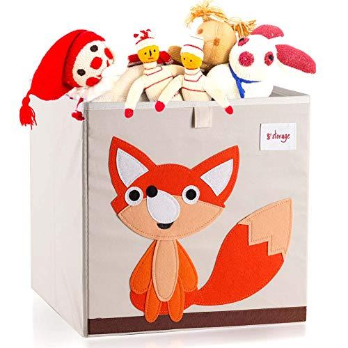 Vmotor Foldable Animal Canvas Storage Toy BoxBinCubeChestBasketOrganizer for Kids 13 inchFox