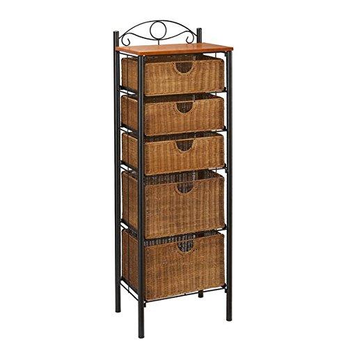 Upton Home Black Steel Finish Wicker 5-drawer Storage Unit