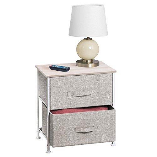 mDesign Fabric 2-Drawer Storage Organizer Unit for Bedroom Nursery Closet Entryway - Linen