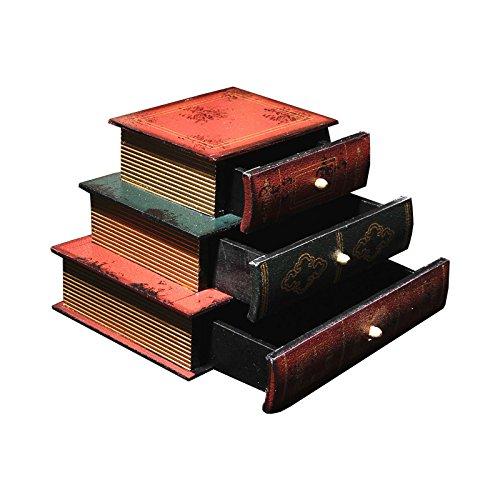 Mural Art Retro Wooden Jewelry Box Creative 3 Drawers Book Shape Wooden Storage Box Jewelry Makeup Cosmetics Organizer Storage Rack