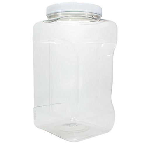 1 Gallon  128 oz  4 Quart Square Food Storage Refillable PET Plastic BPA Free Container Jar
