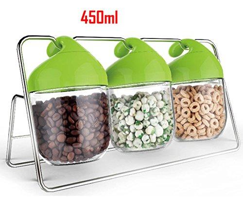 450ml Unique Design Glass Food Storage Jars  Airtight Plastic Clip Top Lids  3 Piece Set on Rack