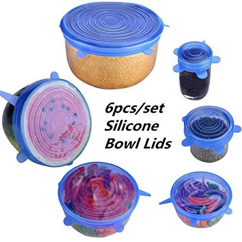 MEJOY 6Pcs Bowl Covers Silicone Stretch Lids Reusable Kitchen Food Storage Containers Lid clear de
