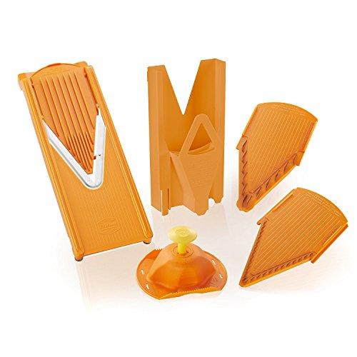 Original Borner V3 TrendLine fruit- and vegetable slicer including slide insert and blade inserts 35mm and 7mm with safety food holder and multi-box for storage Orange