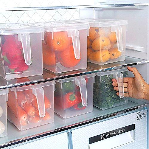 Set of 247L Refrigerator Pantry Organizer Bin Kitchen Vegetable Fruit Food Holder Storage Freezer Cabinet Box with Lid Handle - Clear Food Grade BPA Free 126262