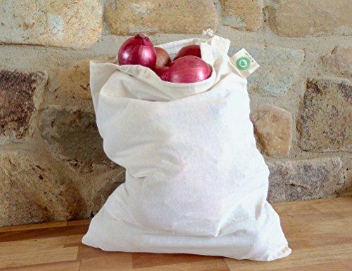 Reusable Bulk Food Storage Bags - Muslin Organic Cotton Reusable Muslin Produce Bags - Washable - Set of 3 3 X-Large - 14x18