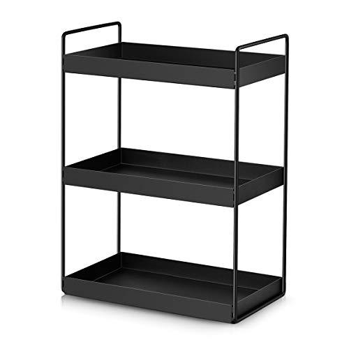 3-Tier Bathroom Countertop Organizer Vanity Tray Cosmetic Makeup Storage Kitchen Spice Rack Standing Shelf Black