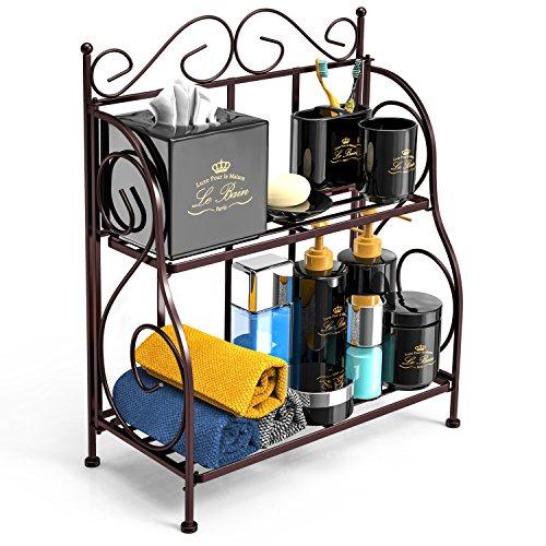 Bathroom Countertop Organizer F-color 2 Tier Foldable Kitchen Spice Rack Counter Storage Shelf Organizer Bronze